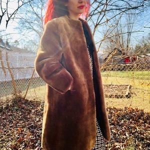 Vintage Teddy Bear Coat Dyed Lamb Fur Winter